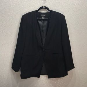 Halston suit jacket blazer black with metallic